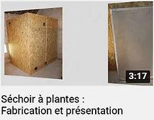 image représentant un séchoir artisanal à plantes aromatiques en bois et une claie de séchage faisant le lien vers une vidéo Youtube de la chaîne Nouvelle Ferme
