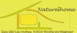 Dessin représentant le logo de l'association NaturelHome jaune avec l'adresse lieu dit les roches 43810 Roche en Regnier faisant le lien vers le site de l'association