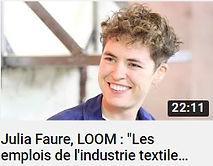 """Photo de Julia Faure cofondatrice de Loom marque de vêtements ethiques et de la mention """" les emplois de l'industrie textile relèvent du semi-esclavage"""", lien vers une vidéo YouTube de la chaîne Mediatico"""