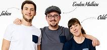Photo des fondateurs de la marque le T-shirt propre fabien tonton mathieu et odile faisant le lien vers les engagements de l'entreprise sur leur site internet