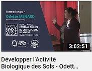 image faisant le lien vers une vidéo YouTube de Odette Menard parlant du développement de l'activité biologique des sols