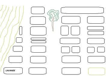 schéma du potager aromatique symbolisant des bacs de cultures d'herbes et de plantes