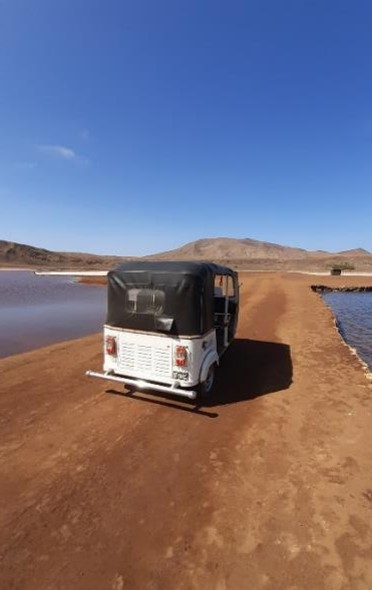 tuk tuk at Salinas of Pedra de Lume