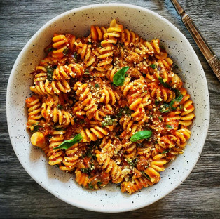 Roasted pumpkin, tomato & basil pasta with walnut parmesan
