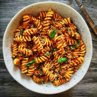 Roasted pumpkin, tomato & basil pasta with walnut parmesan