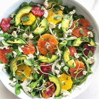 Orange, rocket, avocado and fennel salad with dill dressing