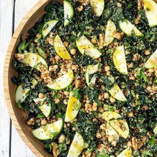 Chickpea, kale, apple & walnut salad