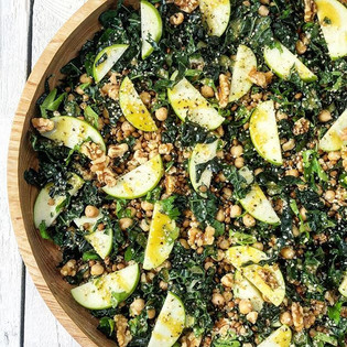Chickpea, kale, apple & walnut salad