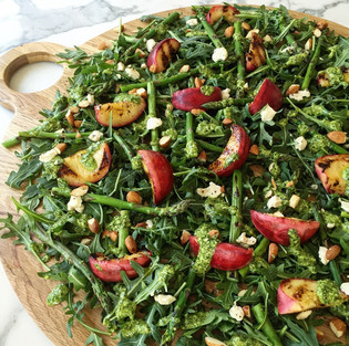 Grilled peach, asparagus & rocket salad with basil/mint pesto dressing
