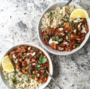 Moroccan spiced veggie, chickpea and lentil stew