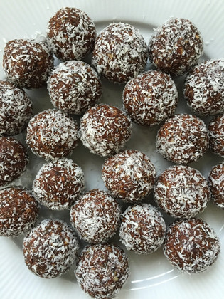 Apricot, coconut and chocolate bliss balls