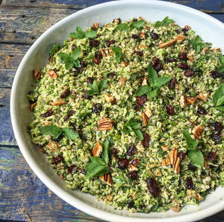 Brown rice, broccoli, cranberry & pecan salad