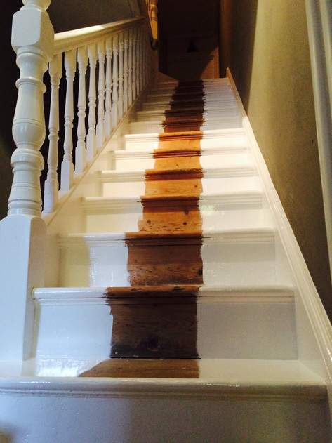 Stair strings and spindalls ready for a single run of capet