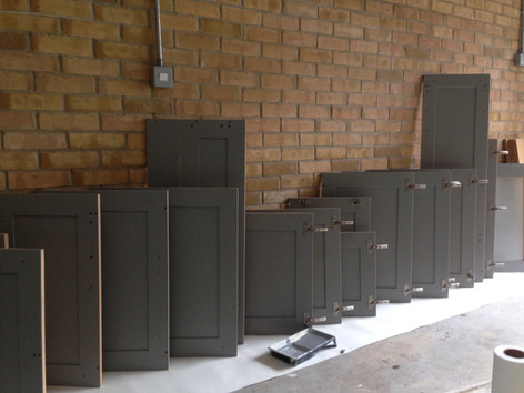 kitchen doors getting prepped