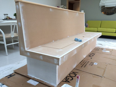 MDF bespoke bench, getting prepped
