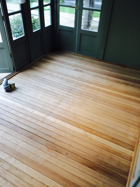 Floor sanded back and ready for for treatment