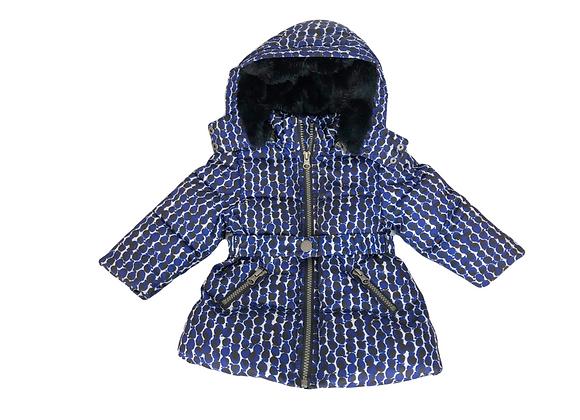 Manteau Jean Bourget à capuche bleue 12 mois