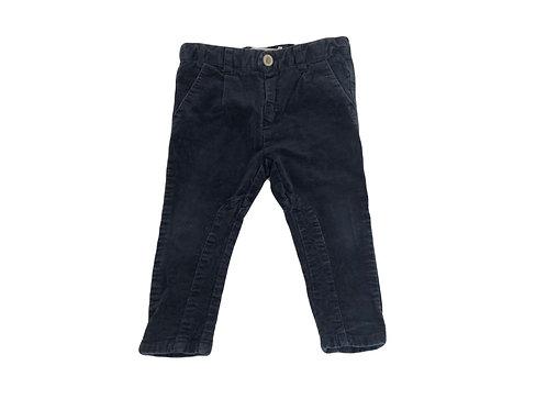 Pantalon Zara en velour bleu marine 12/18 mois