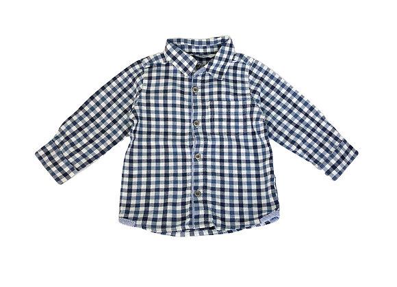 Chemise 3 Pommes à carreaux bleue 12 mois
