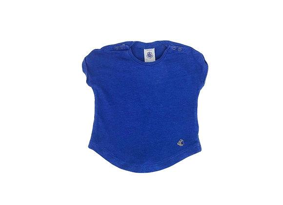 T-shirt Petit Bateau en lin bleu électrique 3 mois
