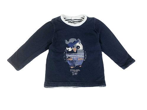 T-shirt Catimini réversible doublé bleu 12 mois