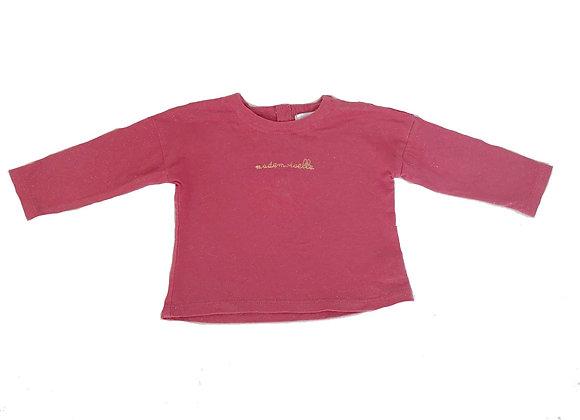 T-shirt Bout'chou rose à paillettes 6 mois
