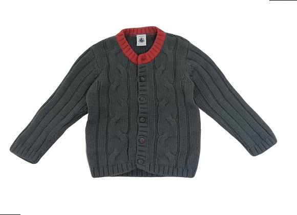 Gilet Petit Bateau en laine gris 18 mois