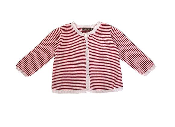 Gilet Bout'chou rayée rose pâle et rouge 12 mois