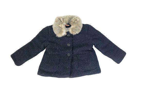 Manteau Tape à l'oeil bleu col fourrure 2 ans