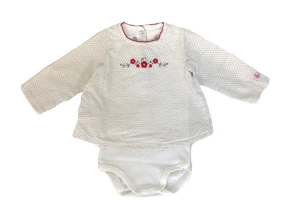 Blouse Petit Bateau fleurie et son body blanc 12 mois