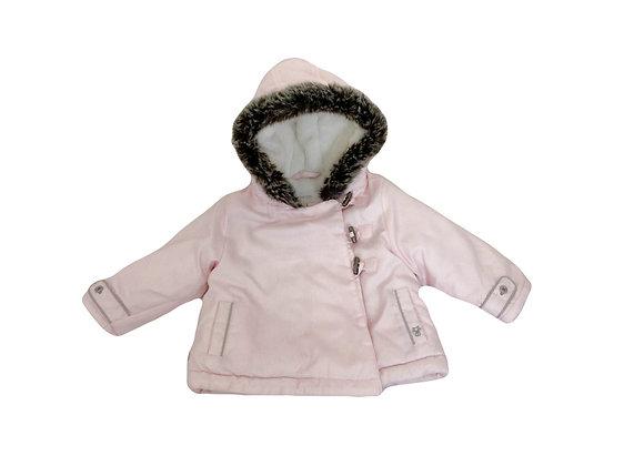 Manteau à capuche Obaibi rose fourré 12 mois
