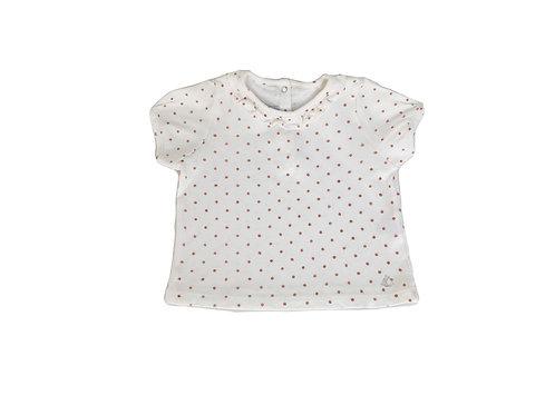 T-shirt Petit Bateau blanc à pois 12 mois
