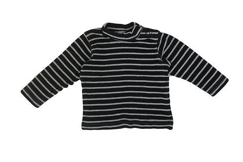 T-shirt à col roulé Grain de blé rayé gris et noir 12 mois