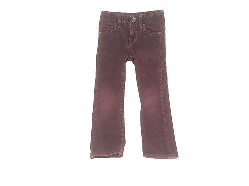 Pantalon IKKS en velour côtelé bordeau 4 ans