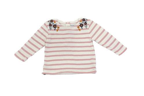 T-shirt Bout'chou rayé rose 12 mois
