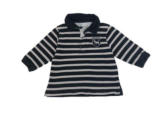 Polo Bout'chou rayé noir et gris 12 mois