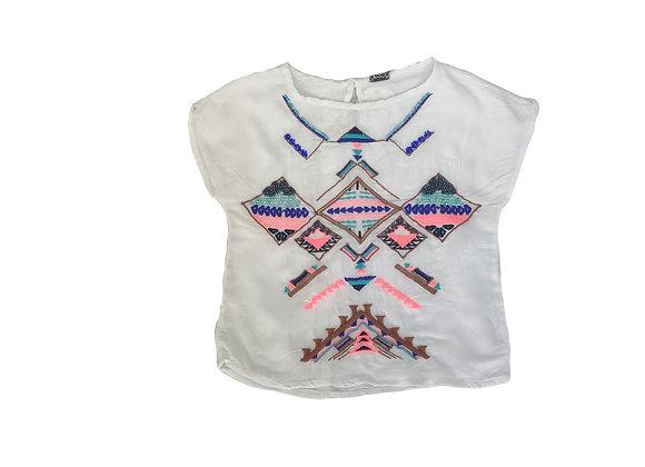 T-shirt Tape à l'oeil blanc brodé ethnique 4 ans