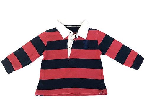Polo Bout'chou rayé rouge et bleu 9 mois