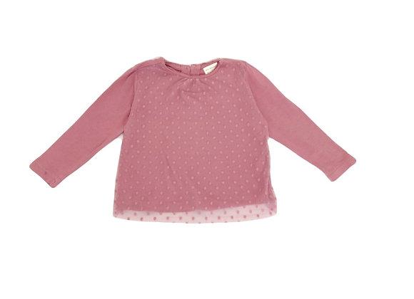 T-shirt Zara rose en dentelle 12/18 mois (86cm)