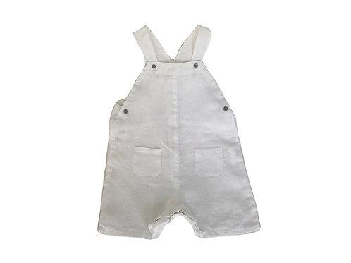 Salopette Bout'chou en lin blanche 18 mois