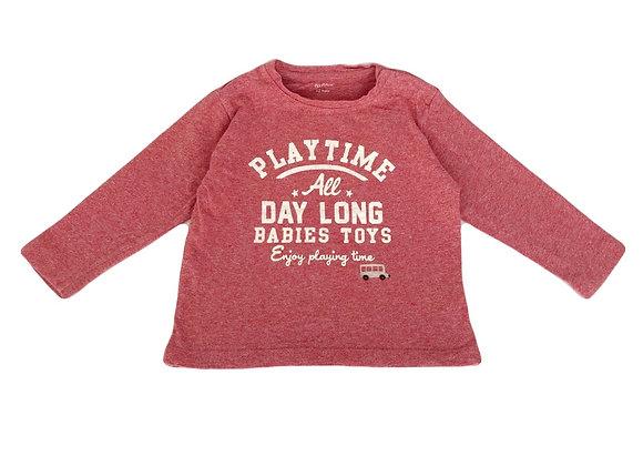 T-shirt Bout'chou rouge à message 12 mois