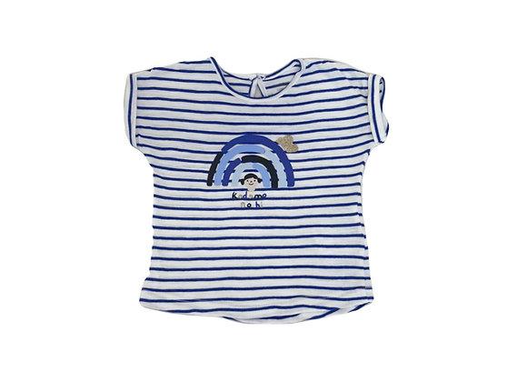 T-shirt Bout'chou rayé bleu 9 mois
