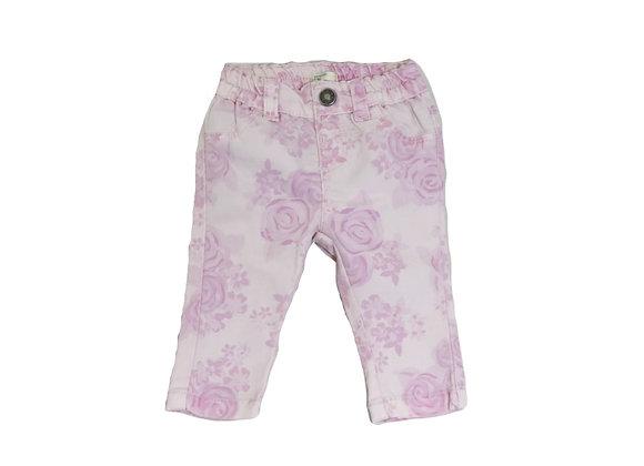 Pantalon Benetton rose fleuri 1/3 mois