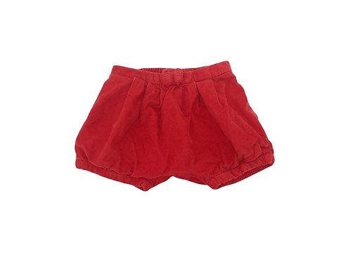 Short Jacadi en velours côtelé rouge 12 mois