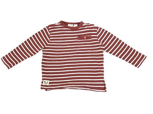 T-shirt Zara rayé camel 18/24 mois (92cm)