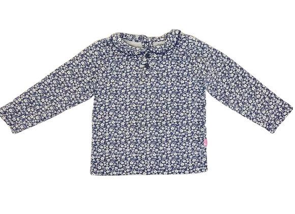 T-shirt Jojo Maman bébé fleuri bleu 3/4 ans