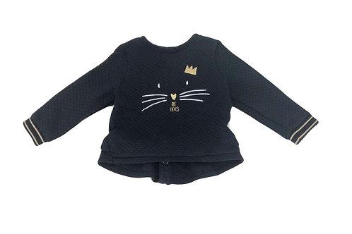 Sweat IKKS noir petit chat 12 mois