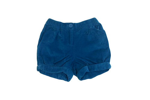 Short Jacadi en velour côtelé bleu 12 mois