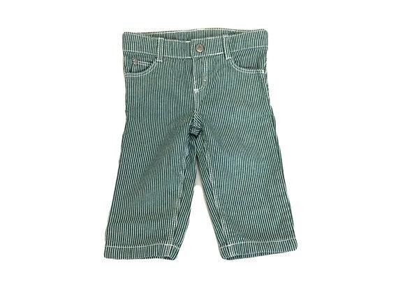 Pantalon Petit Bateau vert à lignes 6 mois