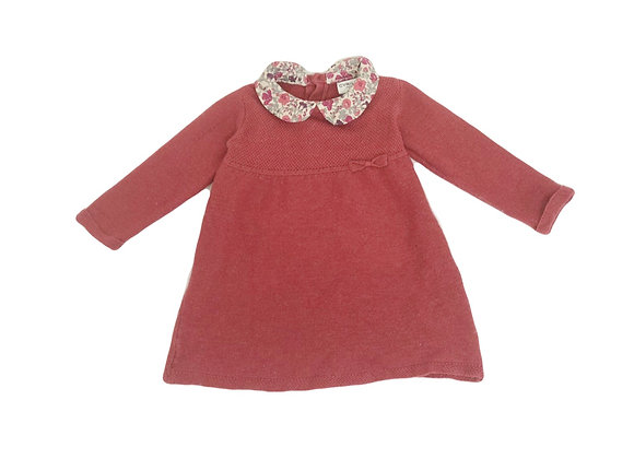 Robe-pull Cyrillus rouille au col liberty 3 mois